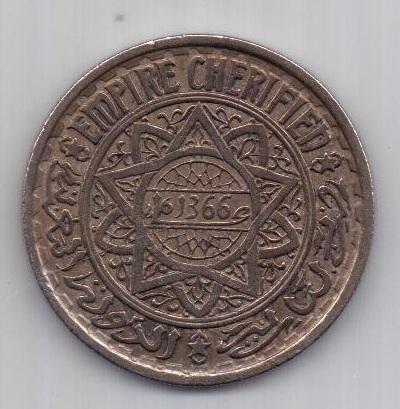 20 франков 1366 г. AUNC. Марокко