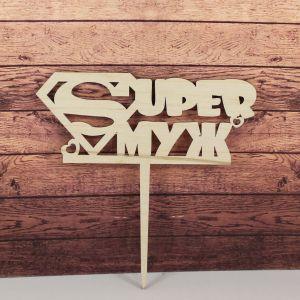 "Заготовка  топпер ""SUPER муж"", 15х15 см, фанера 3 мм, 1 уп=5шт"