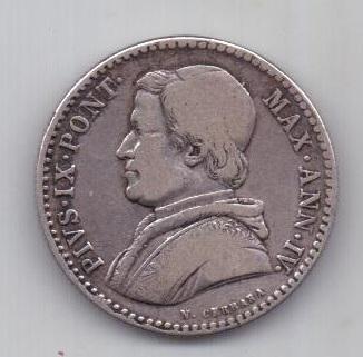 20 байочи 1850 г. R. редкий год. Ватикан