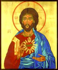 Сердце Иисуса Христа (рукописная икона)