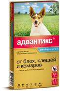 Адвантикс 100 Капли от блох, клещей и комаров для собак от 4 до 10 кг (4 шт./уп.)