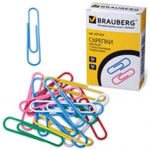 Скрепки BRAUBERG (БРАУБЕРГ), 50 мм, цветные, 50 шт., в картонной коробке