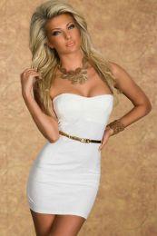 Белое платье бандо