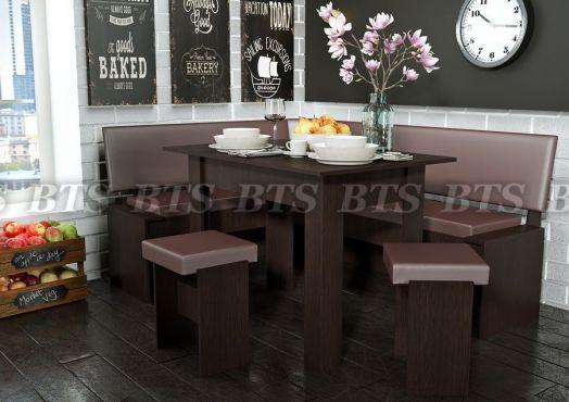 """Обеденная группа - кухонный диван """"Чикаго"""" (угол 1820х1435; стол 1100х700, 2 табурета)"""