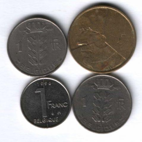 Набор монет Бельгия 1963-1996 г. 4 шт.