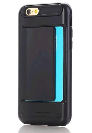 Противоударный чехол для iPhone 6/6s с отделением для карточки (Черный)