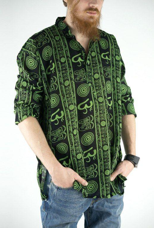 Разные расцветки! Чёрная мужская рубашка Символ Ом (СПб)
