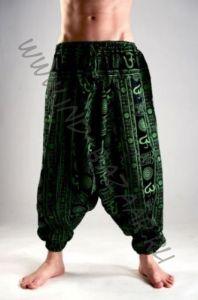 Чёрные мужские штаны алладины с ФИОЛЕТОВЫМИ символами ОМ (СПб)