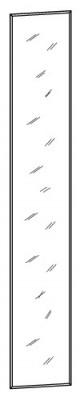 У-3100  Зеркало для артикулов 100-102, 105, 106, 109-112, 401, 403    1980x280x3 мм ВxШxГ