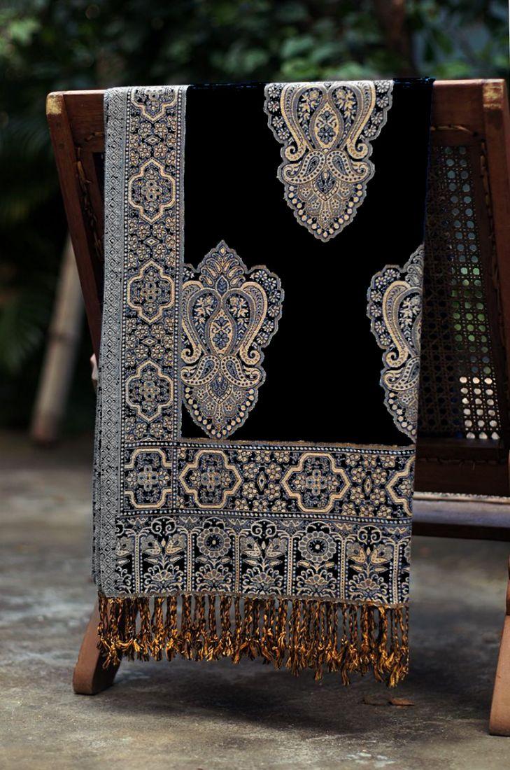 Черный индийский палантин (отправка из Индии)