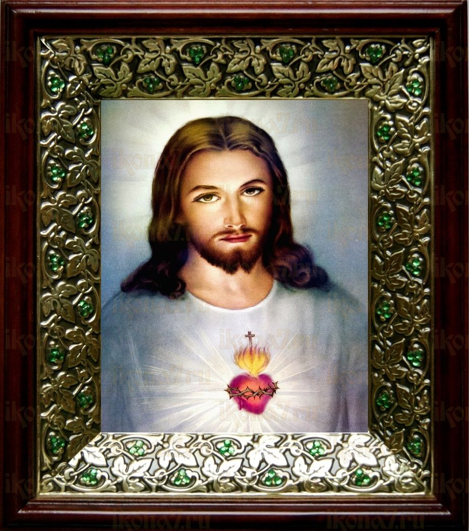 Сердце Иисуса Христа (21х24), киот со стразами