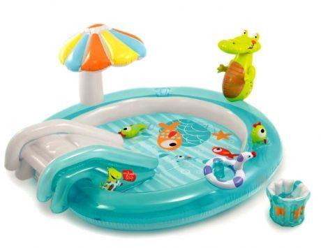 Детский надувной центр Intex 57129 «Аллигатор», 203 х 173 х 89 см, с горкой, игрушками, надувным кругом и ведерком