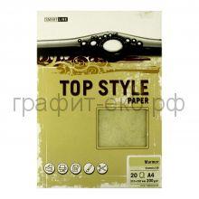Бумага А4 Smart Line Top Style marmor chamois цвета замша 200г/м2 20л 3272