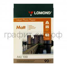 Фотобумага А4 INK JET90 100л.мат.одн.Lomond 0102001