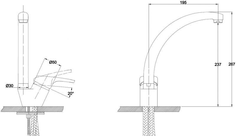 Kaiser Conty 55244-12 Black Metalic Смеситель для кухни Черный металлик