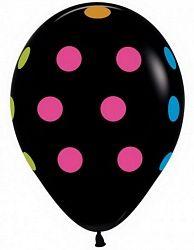 Неоновый горошек на черном латексные шары с гелием