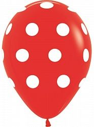 Горошек на красном латексные шары с гелием