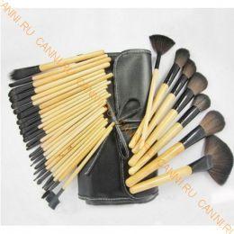 Кисти для макияжа 32 штуки, набор. Деревянные ручки.