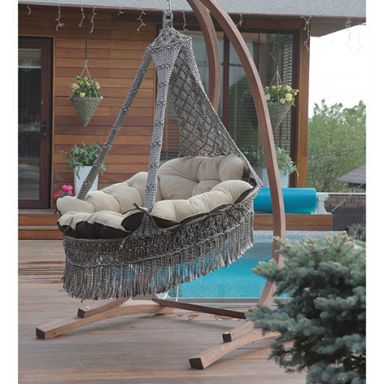 Подвесное кресло КАРТАХЕНА + каркас КОРСА (дерево)