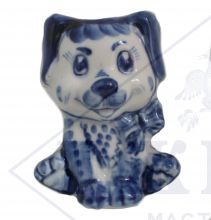 Собака Гжель Щенок с бантом  8х6,5х5,5см