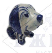 Собака Гжель Щенок Дружок 6,5х5,5х7,5см. Авторская работа.