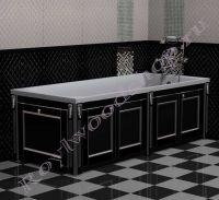 """Экран для ванны """"Руссильон PROVENCE складной, черный с серебром"""" в закрытом виде"""