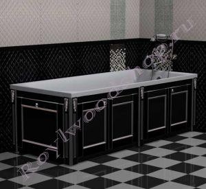 """Экран для ванны """"Руссильон PROVENCE складной, черный с серебром"""""""