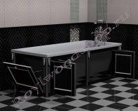 """Экран для ванны """"Руссильон PROVENCE складной черный с серебром"""" в открытом виде"""