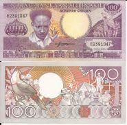Суринам 100 гульденов 1986 фауна тукан птица
