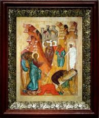 Воскрешение Лазаря (19х22), темный киот