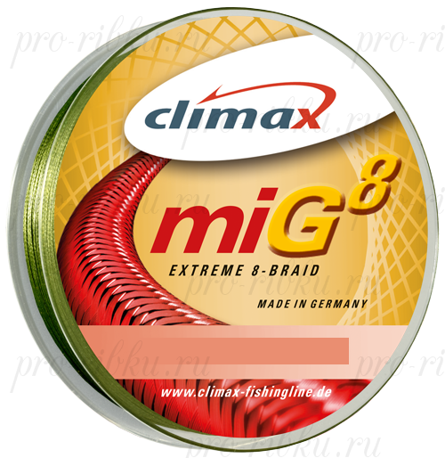 Плетёный шнур Climax Mig 8 Extreme Braid 135m 0,10мм 7.9кг (зеленый)