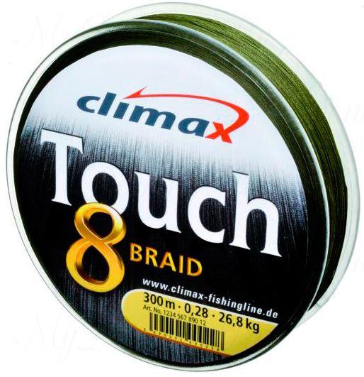 Плетёный шнур Сlimax Touch 8 Braid (тёмно-зеленый) 135м 0,22мм 21,5кг (круглый)