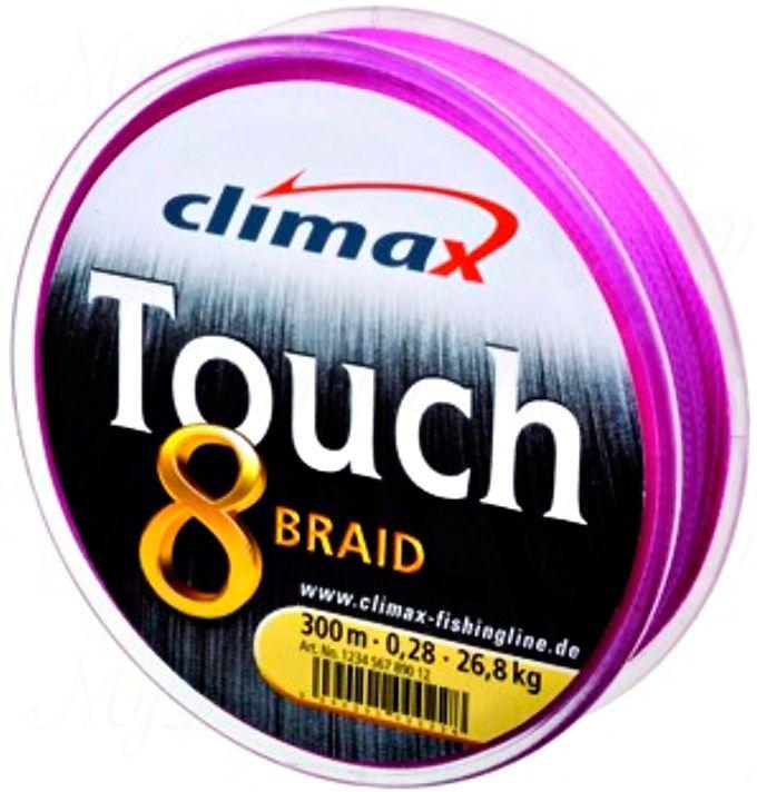 Плетёный шнур Сlimax Touch 8 Braid (розовый) 135м 0,18мм 9,2кг (круглый)
