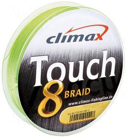 Плетёный шнур Сlimax Touch 8 Braid (флюресцентно-желтый) 135м 0,25мм 24,0кг (круглый)