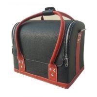 Сумка-чемодан мастера кожаная чёрная с красными ручками, 32х28х25 (см)