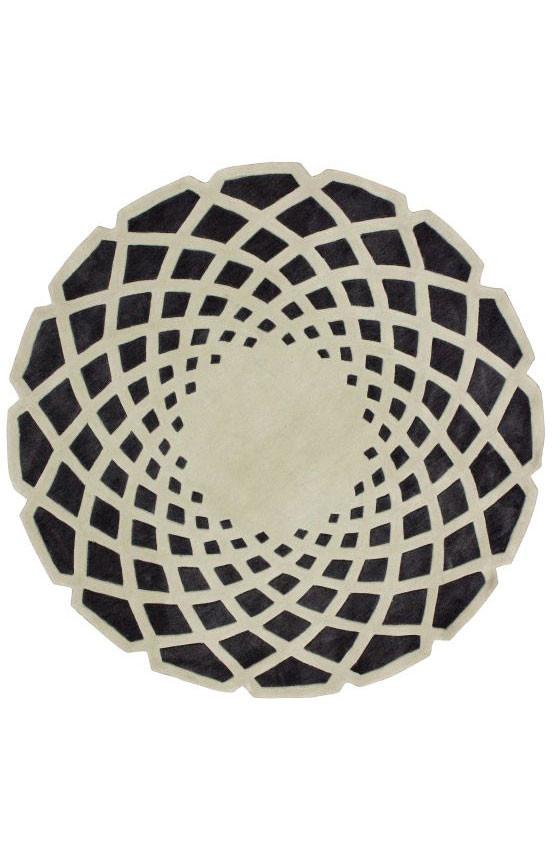 Ковер круглый серо чёрный 1,5 м