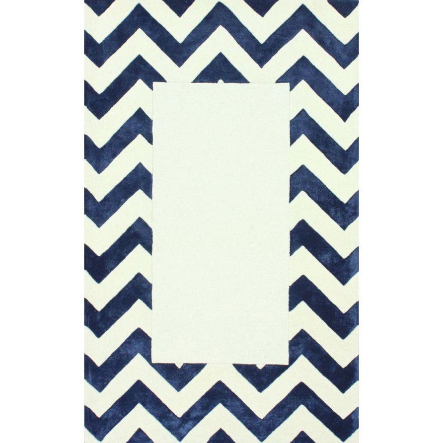 Ковер Zig Zag синий с квадратом 1,2 1,8 м