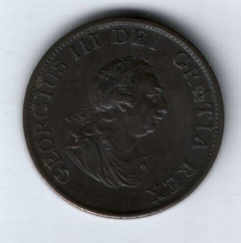 1/2 пенни 1799 г. AUNC Великобритания