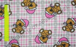 Медвежата с розовыми колпачками полар-флис отрез 0,5м