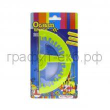 Транспортир 180град.+ угольник 45° Keyroad Ocean World Soft touch обрезиненный корпус KR970227-1