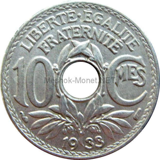 Франция 10 сентим 1935 г.