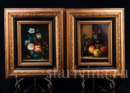 Две картины на фарфоре, Натюрморты, Neudorf, Германия, сер. 20 в., артикул 03016