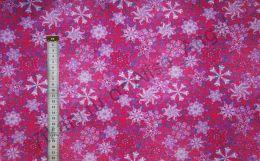 Белые снежинки на розовом Дюспа 240Т отрез 0,55м