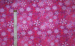 Белые снежинки на розовом Дюспа 240Т