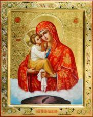 Почаевская икона БМ (рукописная с резьбой)