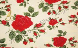 Розы на светлом экрю кулирка с лайкрой остаток 1,2м