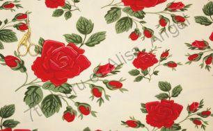 Розы на светлом экрю кулирка с лайкрой