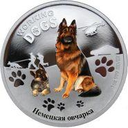 1 доллар Тувалу 2011г. Немецкая овчарка.Серебро 31.135 гр.