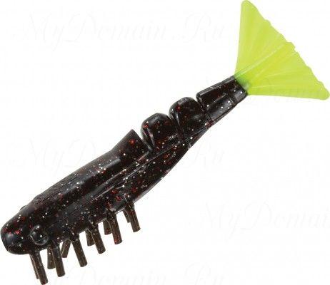Креветки MISTER TWISTER Exude Shrimp 7 см. уп. 15 шт. 3SRS10 (съедобная, черный с красными блестками и лимонным хвостом) NEW