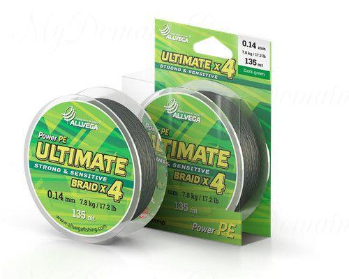 "Шнур плетёный ALLVEGA ""Ultimate"" 135м тёмно-зелёный 0,22мм (14,2кг)"